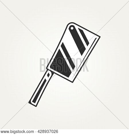 Vintage Isolated Cleaver Chef Knife Logo Icon Symbol On Withe Background Sign Template Vector Illust