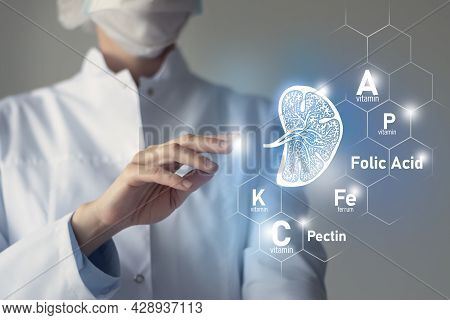 Essential Nutrients For Spleen Health Including Pectin, Folic Acid, Vitamin P, Ferrum. Blurred Portr