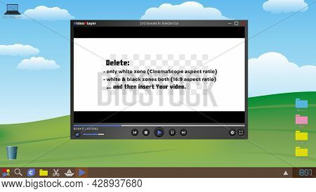 Video Player And Computer Desktop. Template. Vector Illustration. Isolated Background.