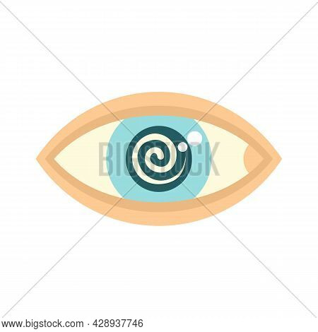 Hypnosis Eye Therapy Icon. Flat Illustration Of Hypnosis Eye Therapy Vector Icon Isolated On White B