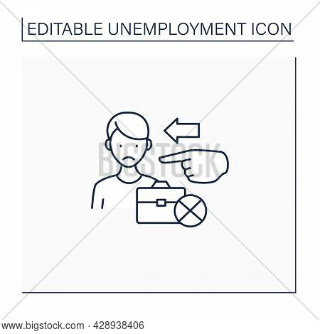 Involuntary Unemployment Line Icon. Person Is Willing To Work At Prevailing Wage Yet Is Unemployed.j