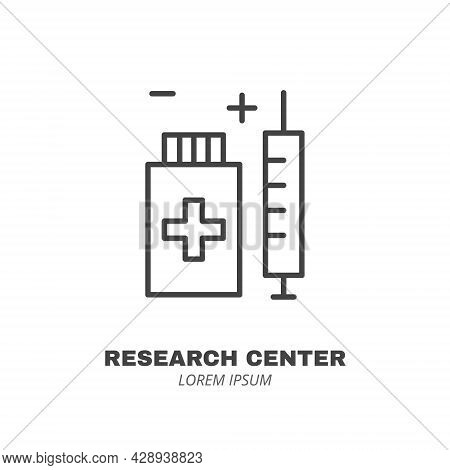Syringe And Medicament Jar Line Icon Isolated Vector. Editable Stroke Symbol. Vaccines Against Virus