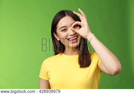 Close-up Friendly Carefree Outgoing Nice Asian Girl Brunette Having Fun, Tilt Head Joyfully, Show Ok