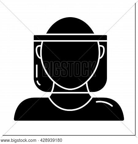 Face Shield Glyph Icon. Face Protection. Personal Protective Equipment. Barrier Between Person And G