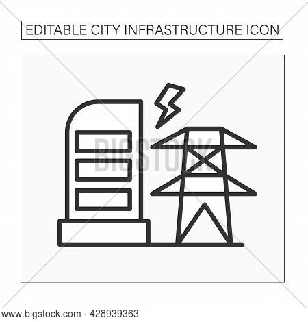 Electricity Station Line Icon.providing Electricity For City.power Station.city Infrastructure Conce