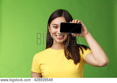 Close-up Cheerful Optimstic Asian Woman Promote Smartphone App Hold Telephone Near Eye Gaze Camera S
