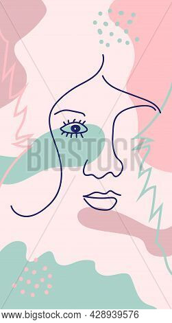 Modern Poster With Illustration Of Portrait And Tropical Leaf One Line. For Wallpaper, Posters, Text