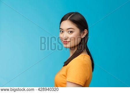 Close-up Tender Feminine Stylish Young Female Turn Camera Stand Profile, Look Camera Amused Joyful,