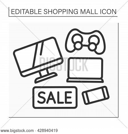 Electronics Store Line Icon. Special Electronic Devices On Sale. Tv, Laptop, Mobile Phone On Discoun