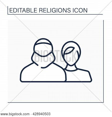 Muslim Line Icon.islam Followers. People Who Believe In One God And In Prophetic Mission Of Muhammad