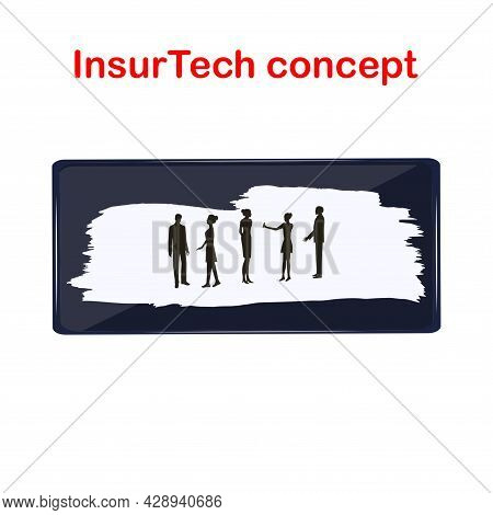 Smartphone. A Group Of People. The Inscription On The Background In The Style Of Grunge. Insurtech C