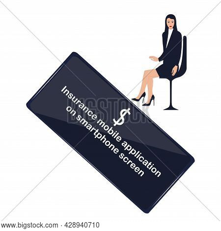 Smartphone With Dollar Symbol. The Woman Manager Is Sitting In A Chair. Insurtech Concept. Insurance