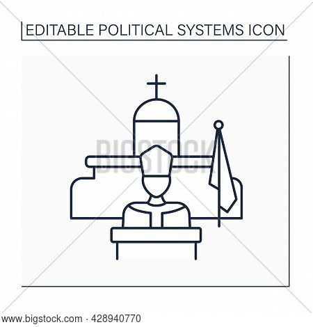 Theocracy Line Icon. Government Form. Priests Rule In Name Of God Or God. Ruled By Religious Leaders