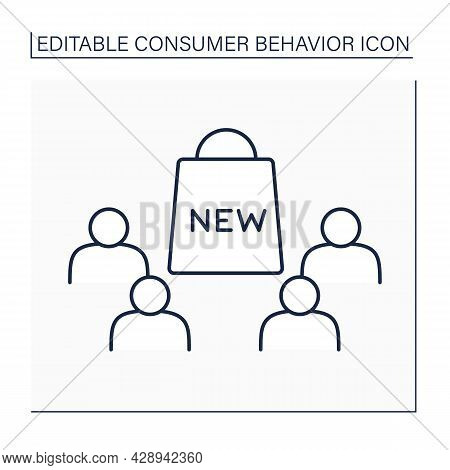 Early Majority Line Icon. Diffusion Of New Goods Among Customers. Consumer Behavior Concept. Isolate