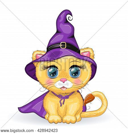 Cute Cartoon Leo With Beautiful Eyes, Orange In A Purple Witch's Hat And Cloak. Halloween 2022.
