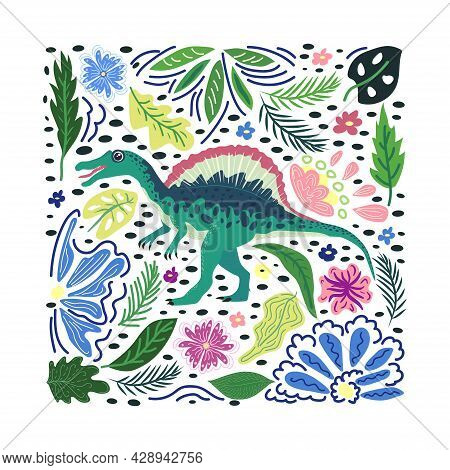 Spinosaurus Emerald, Prehistoric Dinosaurs Collection. Ancient Animals. Hand Drawn. In A Frame Of Fl