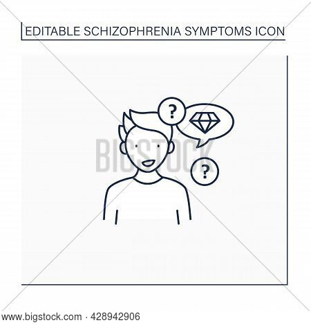 Neologism Line Icon. Made Up New Words Or Phrases. Creating Own Words With Special Meaning.schizophr