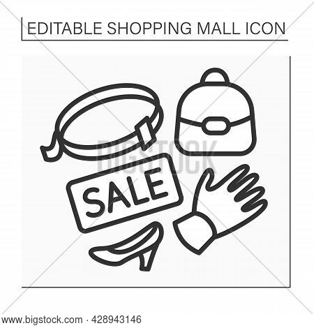 Leather Accessories Line Icon. Sale On Casual Accessories. Leather Shoes, Bags, Gloves. Shopping Mal