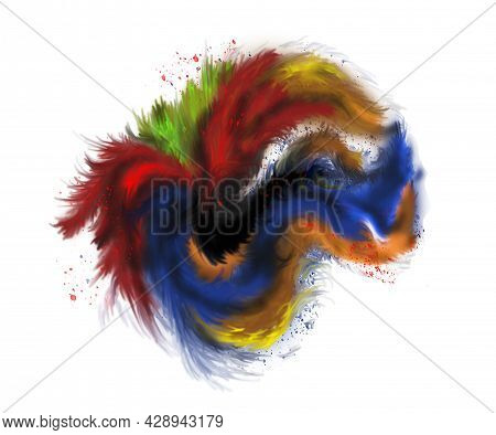 Imitation Watercolor, Multicolor Mottled Spot. Splash Over White Background. Abstract Explosion Of C