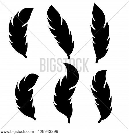 Illustration Of An Old Feather. Feather Feather Silhouette. Retro Image Of Letter With Feather Icon.