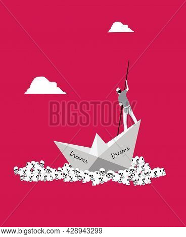 Illustration Of A Sailor With A Paper Boat Sailing Through Skulls For The Idea Of Idealism Being Los