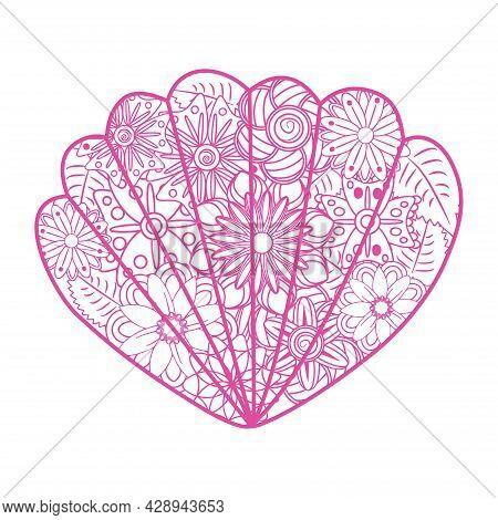 Zentangle Art. Sea Shells, Whale, Lizard, Heart, Paisleys, Flowers. Elements For Adult Coloring Book