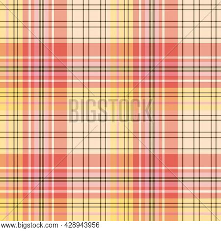 Seamless Pattern In Yellow, Red, Pink And Dark Brown Colors For Plaid, Fabric, Textile, Clothes, Tab
