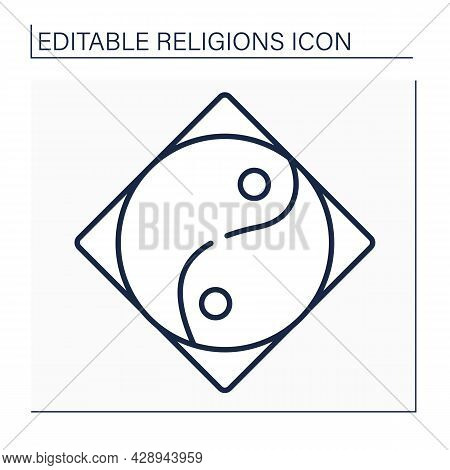 Taoism Line Icon. Chinese Philosophical Tradition. Idea Of Living In Harmony With Tao.includes Eleme