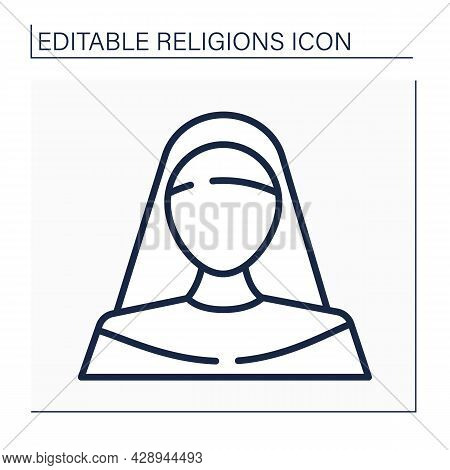 Nun Line Icon. Member Of Religious Community Of Women. Living Under Vows Of Poverty, Chastity, And O