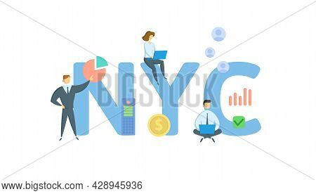 New York City, Nyc. Concept With Keyword, People And Icons. Flat Vector Illustration. Isolated On Wh