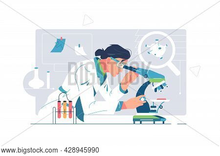 Worker Make Scientific Research In Lab Vector Illustration. Test Sample Under Microscope Flat Style.