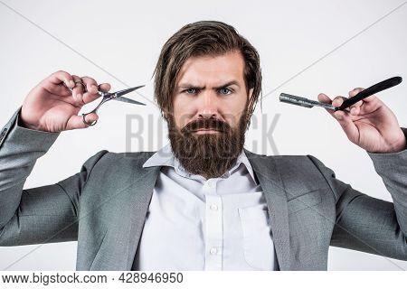 Vintage Barber Shop, Shaving. Portrait Bearded Man. Mustache Men. Brutal Guy, Scissors, Straight Raz