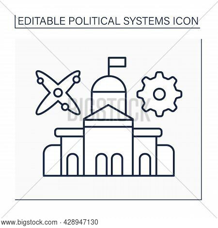 Technocracy Line Icon. Government Form. Society Or Industry Control By Elite Of Technical Experts.po