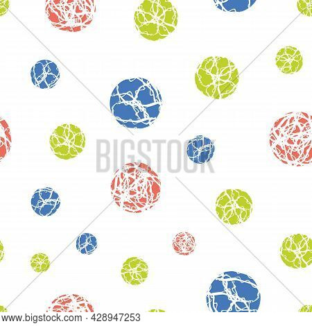 Marble Effect Circles Vector Seamless Pattern Background. Scattered Marbling Stencil Style Circle Ro