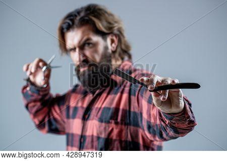 Men Haircut. Barber Scissors And Straight Razor, Barber Shop. Beard Man, Bearded Male. Portrait Bear