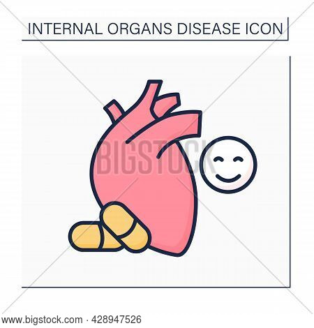 Medical Treatment Color Icon. Heart Disease Prevention. Perfect Treatment. Painkillers And Medicine.