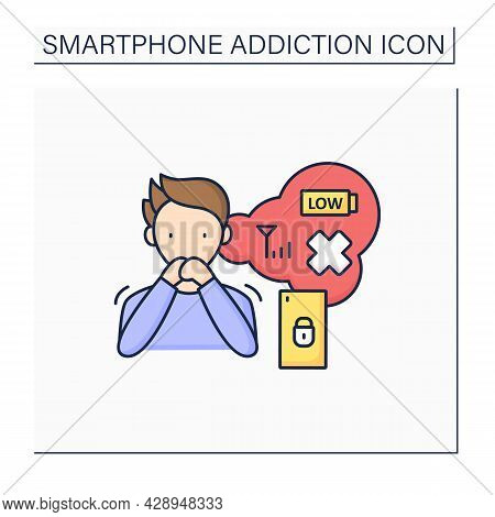 Worried Color Icon. Anxiety Through Cellular Service Absence.low Energy Level. Stress. Smartphone Ad