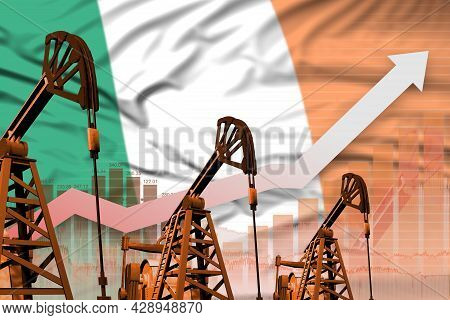 Ireland Oil Industry Concept, Industrial Illustration - Rising Up Chart On Ireland Flag Background.
