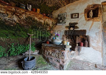 Eschbourg, France, June 25, 2021 : Kitchen In The Old Semi-troglodyte Graufthal Rock Houses (maisons