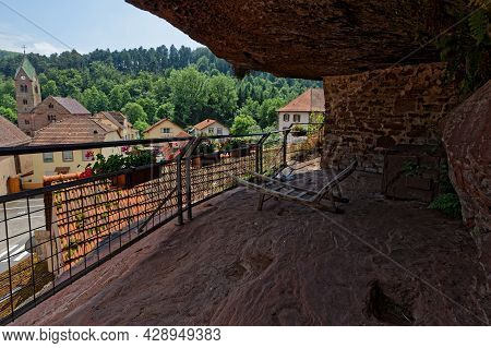 Eschbourg, France, June 25, 2021 : A View Of Graufthal Village From The Rock Houses (maisons Des Roc