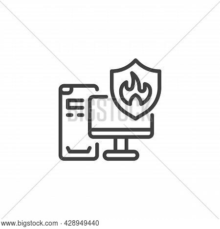 Computer Insurance Line Icon. Linear Style Sign For Mobile Concept And Web Design. Pc Computer And S