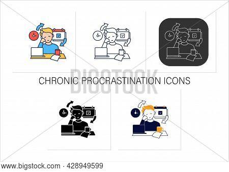 Chronic Procrastination Icons Set.unhappy Statistic.tired Person At Workplace. Routine Procrastinati