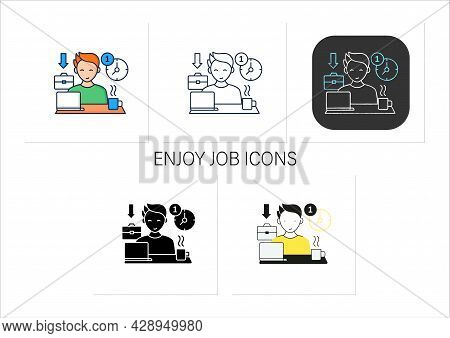 Workaholic Icons Set.first Arrive At Work. Enjoy Job. Be On Time. Man At Laptop. Hard Working.overwo