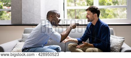 Gay Couple Fighting Each Other. Frustrated Men Arguing