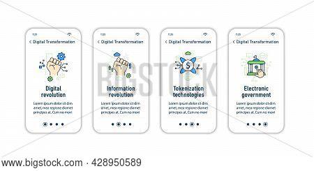 Digital Transformation Onboarding Mobile App Screens.modern Technologies. Digitalization. Future. Di