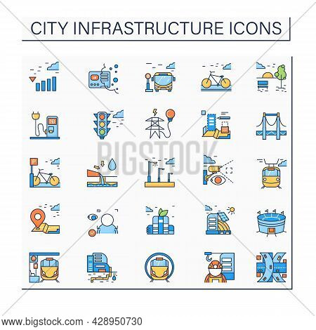 City Infrastructure Color Icons Set. Structures And Services That Act As Basis For City Life Economy