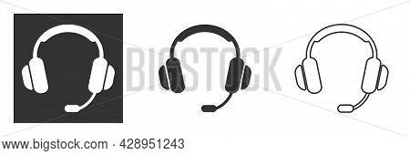 Headset Icon, Support Headphone. Flat Vector Icon Illustration. Simple Black Symbol On White Backgro