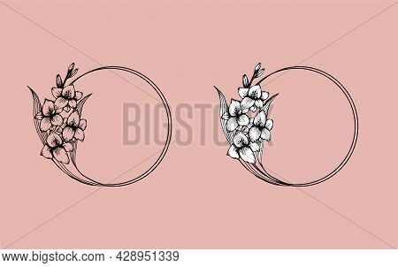 Hand Drawn Gladiolus Flower Wreath In Cute Doodle Style. Luxury Vector Llustration For Postcard, Wed