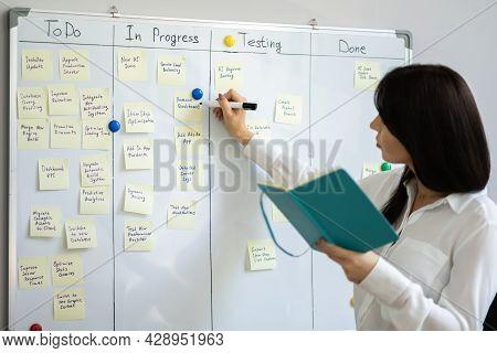 Project Manager Using Kanban Methodology. Scrum Board Whiteboard