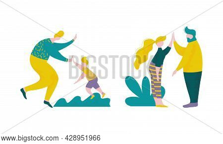 People Character Giving High Five Interacting With Each Other Vector Set